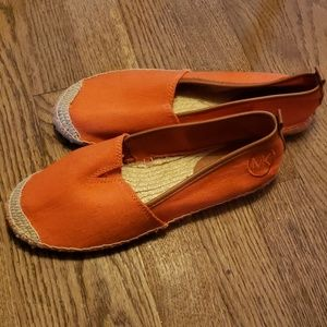Michael Kors orange flat espadrilles.  Sz 8